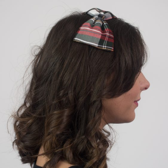 Red Black White Tartan Bow Headband