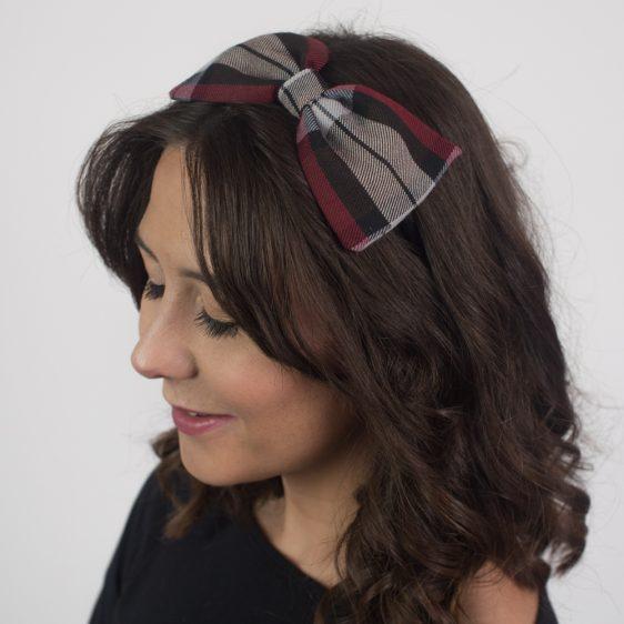 Wine Red Black Tartan Bow Headband