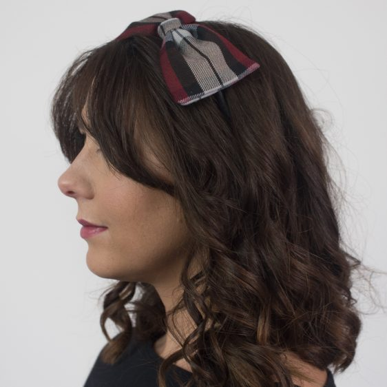 Wine Red Black Tartan Bow Headband