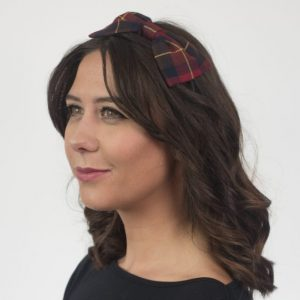 Wine Red Navy Tartan Bow Headband