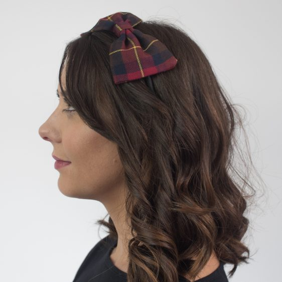 Wine Red Navy Tartan Bow Headband