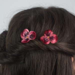 Wine Red Pansy Flower Hair Clips