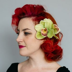 Green Double Orchid Flower Hair Clip