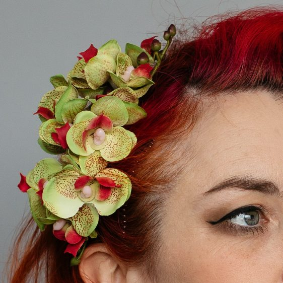 Green Orchid Spray Hair Comb