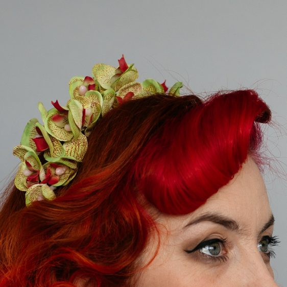 Green Orchid Flower Crown Headband
