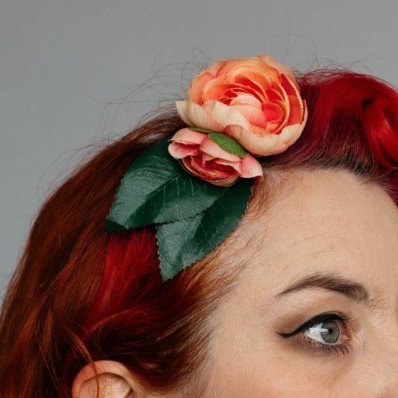 Peach Camellia Flower Bud Hair Clip