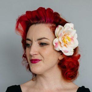 Peach Rugosa Rose Hair Clip