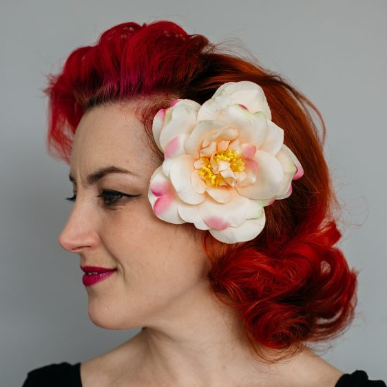 Peach Rugosa Rose Hair Clip