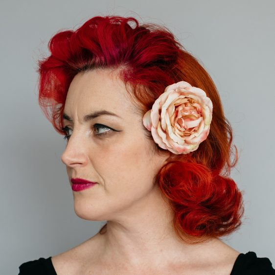 Vintage Peach Rose Hair Clip