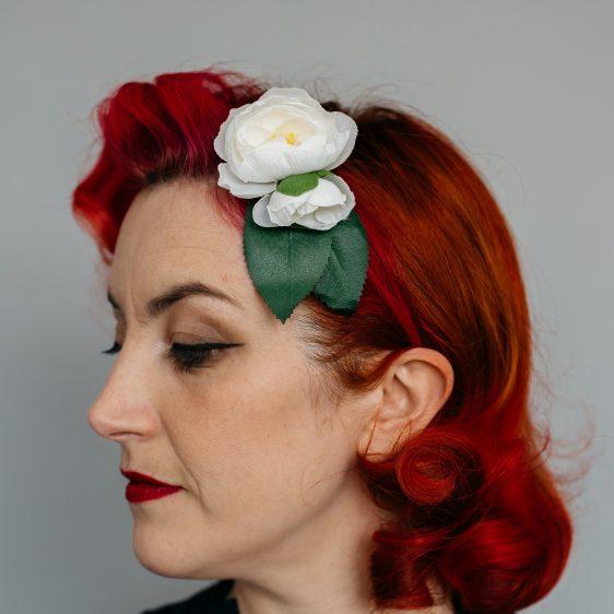White Camellia Flower Bud Hair Clip