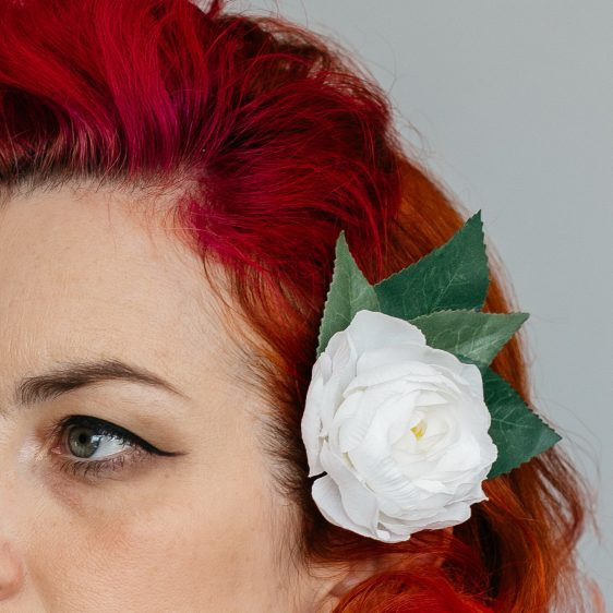 White Camellia Flower Hair Clip