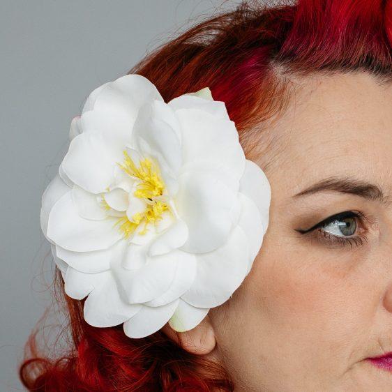 White Rugosa Rose Hair Clip