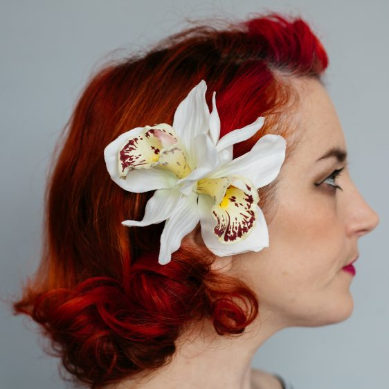 Ivory Double Orchid Flower Hair Clip