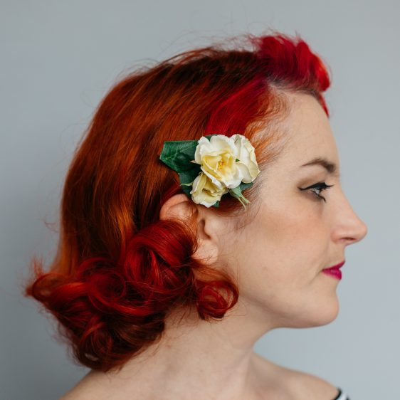 Yellow Rose Posy Hair Clip