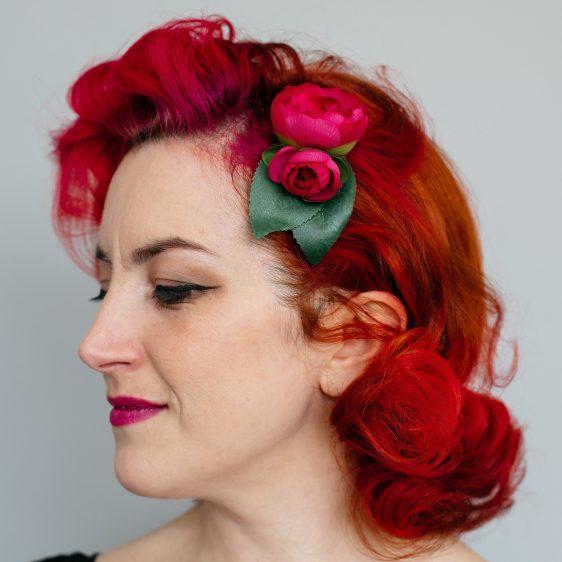 Pink Camellia Flower Bud Hair Clip