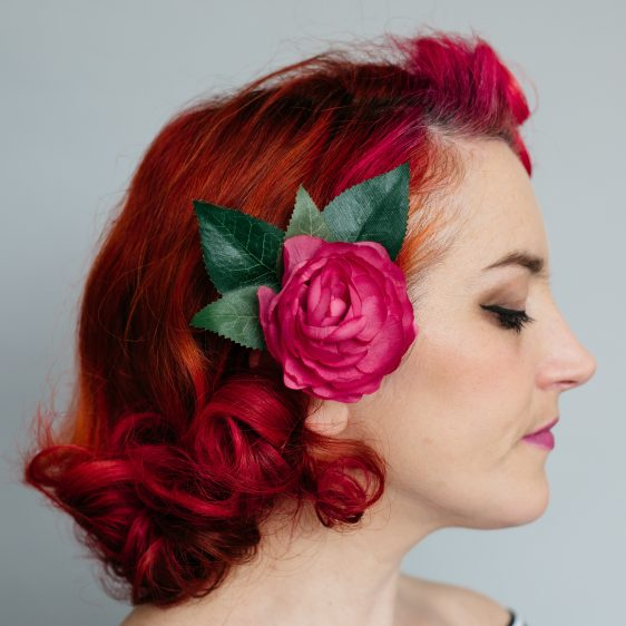 Pink Camellia Flower Hair Clip