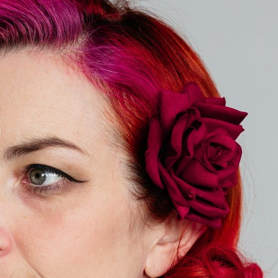 Red Velvet Rose Hair Clip