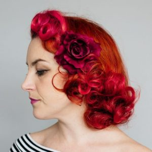 Wine Red Rose Hair Clip
