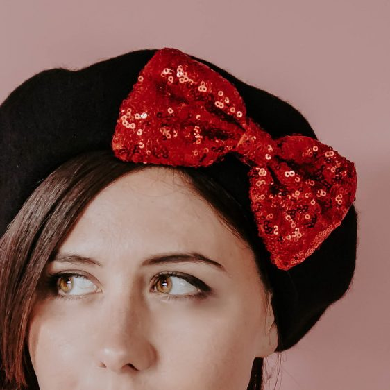 Black Winter Hat Red Sequin Bow