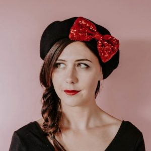 Black Beret Red Sequin Bow