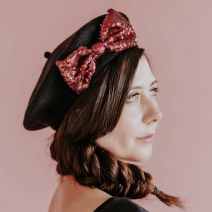 Black Beret Wine Red Sequin Bow