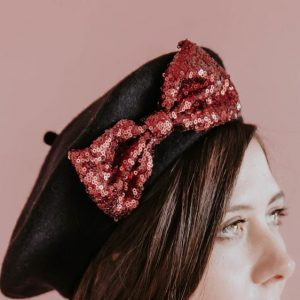 Black Winter Hat Wine Red Sequin Bow