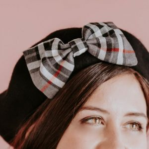 Black Beret Grey Red Tartan Bow