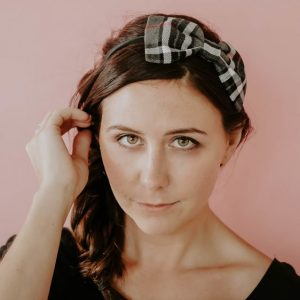 Grey Red Tartan Bow Headband