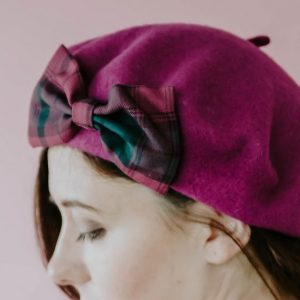 Magenta Winter Hat Magenta Green Tartan Bow