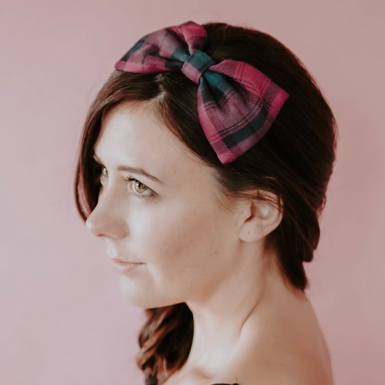 Magenta Green Tartan Bow Headband