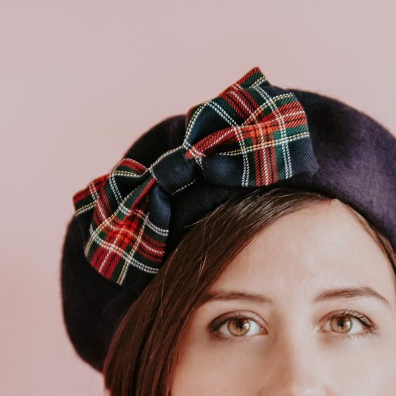 Navy Blue Beret Navy Red Tartan Bow