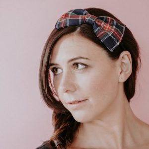 Navy Red Tartan Bow Headband