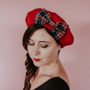 Red Beret Navy Red Tartan Bow