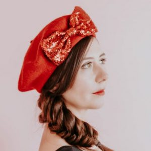 Red Beret Red Sequin Bow