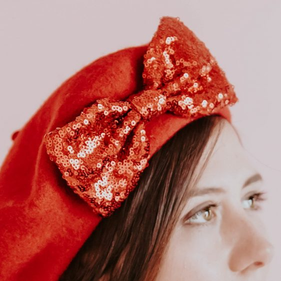 Red Winter Hat Red Sequin Bow