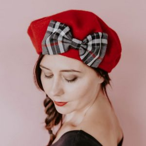 Red Beret Grey Red Tartan Bow