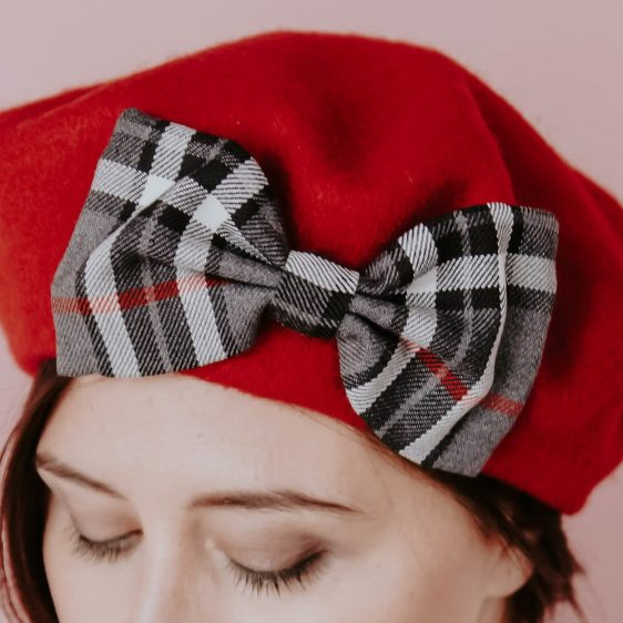 Red Winter Hat Grey Red Tartan Bow