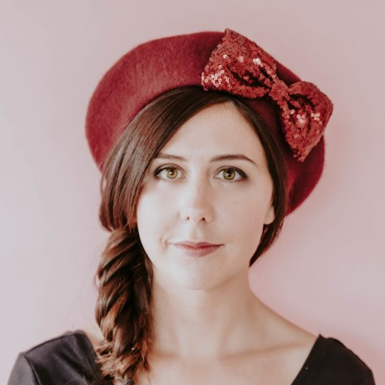 Wine Red Beret Wine Red Sequin Bow