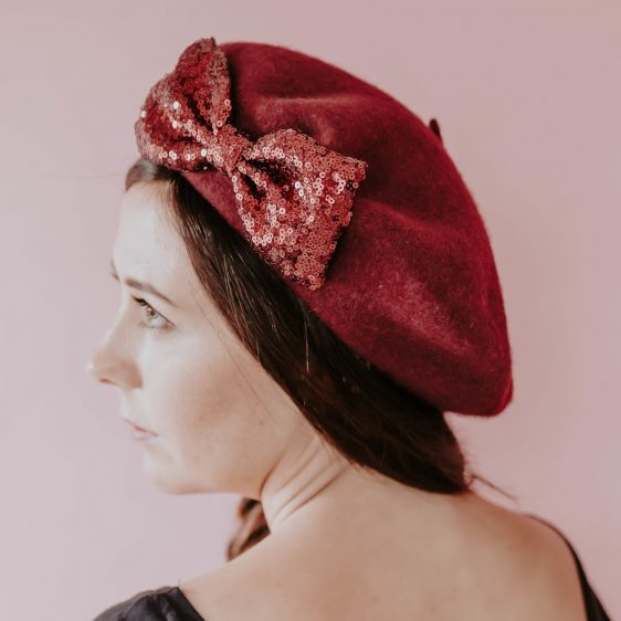 Wine Red Winter Hat Wine Red Sequin Bow