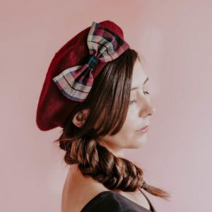 Wine Winter Hat with Wine Tan Tartan Bow
