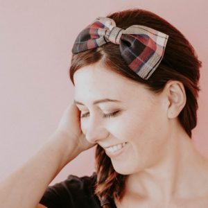 Wine Red Tan Tartan Bow Headband