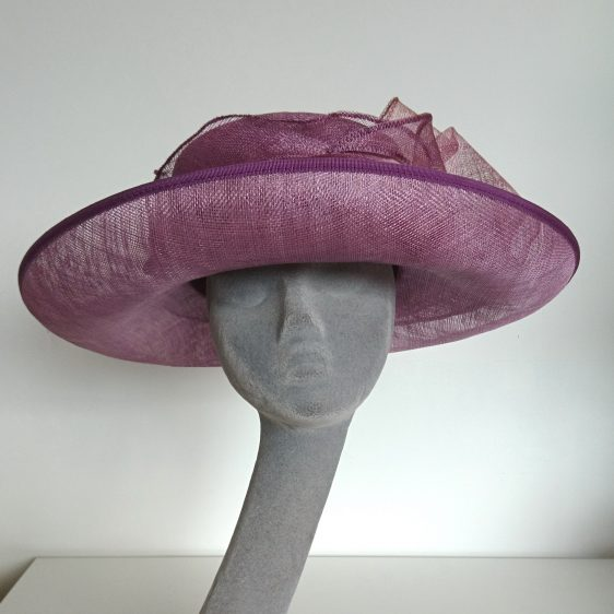 Purple Sinamay Hat Re-trim Project Before - front