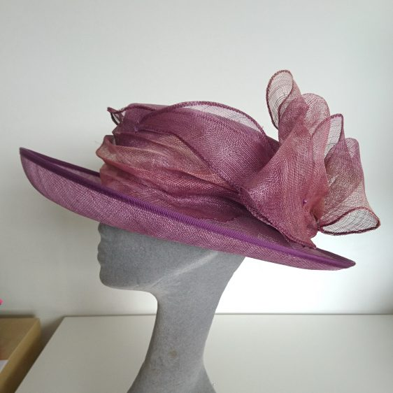 Purple Sinamay Hat Re-trim Project Before - other side