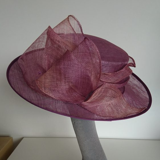 Purple Sinamay Hat Re-trim Project Before - back