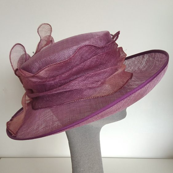 Purple Sinamay Hat Re-trim Project Before - side