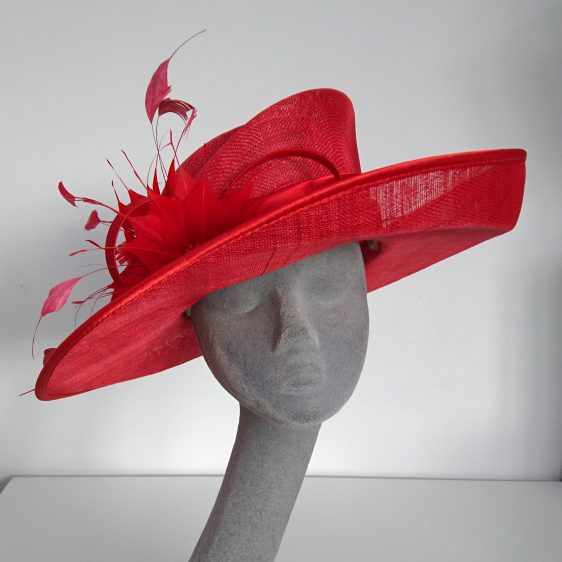 Red Sinamay Hat with Feathers Re-Trim Before - front