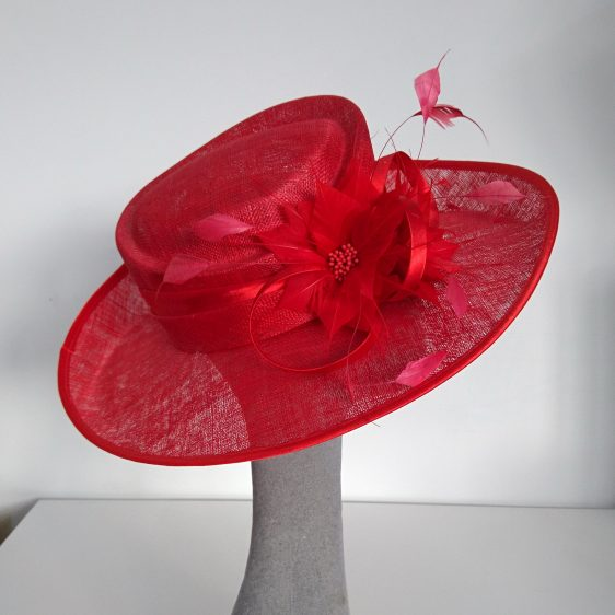 Red Sinamay Hat with Feathers Re-Trim Before - side
