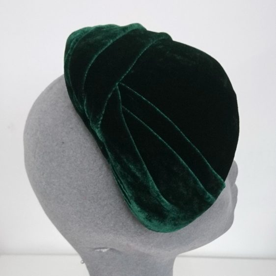 Green Silk Velvet Pleated Half Hat - back angle