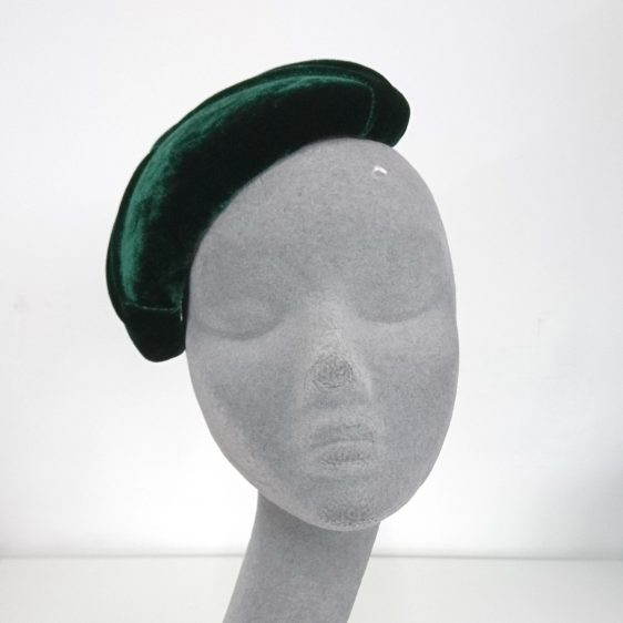Green Silk Velvet Pleated Half Hat - front