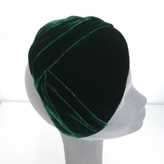 Green Silk Velvet Pleated Half Hat - side detail